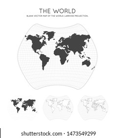 Map of The World. Larrivee projection. Globe with latitude and longitude lines. World map on meridians and parallels background. Vector illustration.