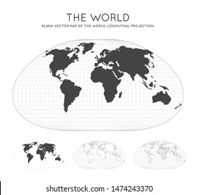 Map of The World. Loximuthal projection. Globe with latitude and longitude lines. World map on meridians and parallels background. Vector illustration.
