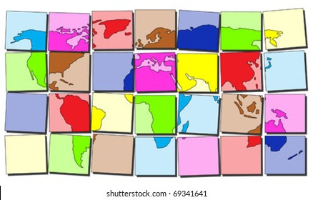Map of the world made of colorful tiles
