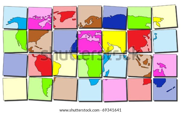 Map World Made Colorful Tiles Stock Vector (Royalty Free
