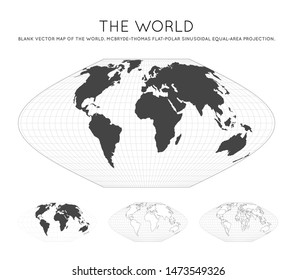 Map of The World. McBryde-Thomas flat-polar sinusoidal equal-area projection. Globe with latitude and longitude lines. World map on meridians and parallels background. Vector illustration.