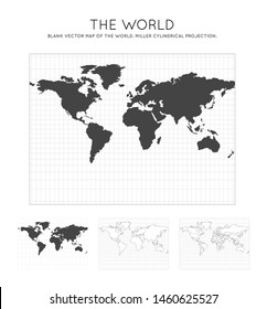 Map of The World. Miller cylindrical projection. Globe with latitude and longitude lines. World map on meridians and parallels background. Vector illustration.