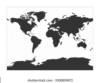 Map of The World. Miller cylindrical projection. Globe with latitude and longitude net. World map on meridians and parallels background. Vector illustration.