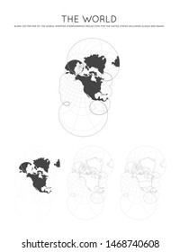 Map of The World. Modified stereographic projection for the United States including Alaska and Hawaii. Globe with latitude and longitude lines. World map on meridians and parallels background.