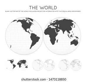 Map of The World. Mollweide projection interrupted into two (equal-area) hemispheres. Globe with latitude and longitude lines. World map on meridians and parallels background. Vector illustration.