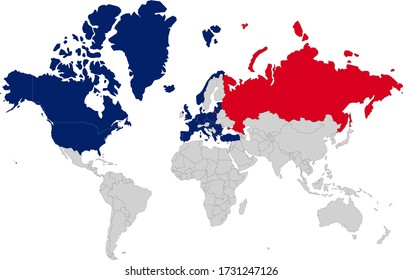 Map of world with nato countries and russia