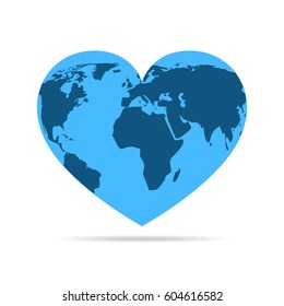 Map world on blue heart globe, isolated on white background. Vector illustration. Heart with earth map.