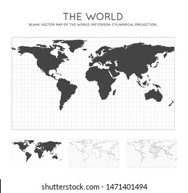 Map of The World. Patterson cylindrical projection. Globe with latitude and longitude lines. World map on meridians and parallels background. Vector illustration.