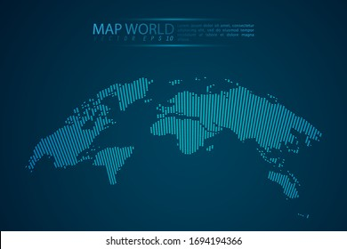 Map world point scales on dark background with Map World. Wire frame 3D mesh polygonal network line, design sphere, dot and structure. Vector illustration eps 10.