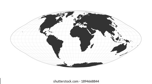 Map of The World. Pseudocylindrical equal-area Goode homolosine projection. Globe with latitude and longitude net. World map on meridians and parallels background. Vector illustration.
