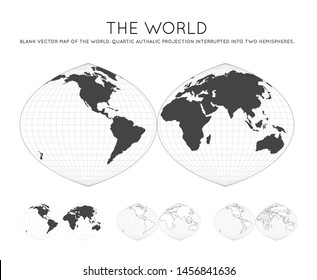Map of The World. Quartic authalic projection interrupted into two hemispheres. Globe with latitude and longitude lines. World map on meridians and parallels background. Vector illustration.