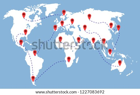 map world red pins on blue stock vector royalty free 1227083692