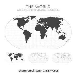 Map of The World. Robinson projection. Globe with latitude and longitude lines. World map on meridians and parallels background. Vector illustration.