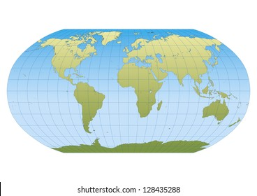 Map of the world in Robinson projection with graticule. Centered in Europe and Africa
