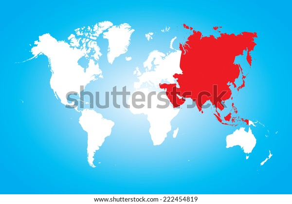 Map World Selected Continent Asia Stock Vector (Royalty Free ...