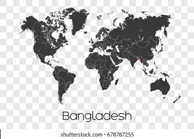 A Map of the World with the Selected Country of Bangladesh