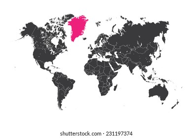 Greenland map images stock photos vectors shutterstock a map of the world with a selected country of greenland gumiabroncs Gallery