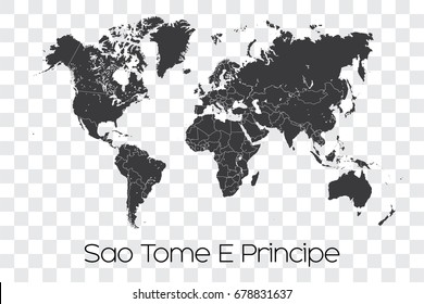 A Map of the World with the Selected Country of Sao Tome E Principe