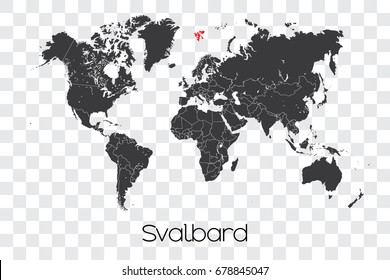 A Map of the World with the Selected Country of Svalbard