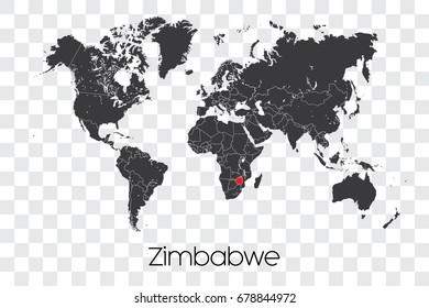 A Map of the World with the Selected Country of Zimbabwe