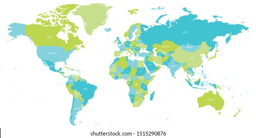 Map of World in shades of green and blue. High detail political map with country names. Vector illustration.
