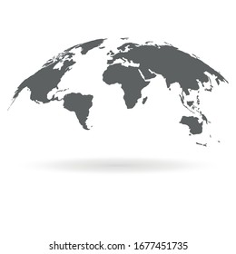 Map of the World with Shadow. 3D Globe Map Template Monochrome. Vector Illustration