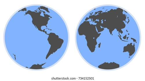 Map of world. Silhouette of the eastern and western hemisphere of the planet Earth.