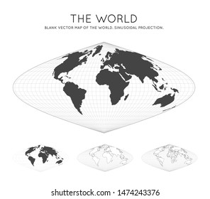 Map of The World. Sinusoidal projection. Globe with latitude and longitude lines. World map on meridians and parallels background. Vector illustration.