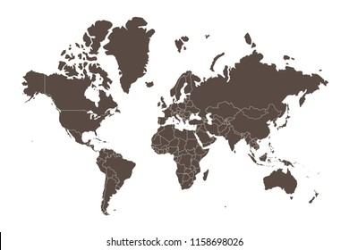 Map of the world split into individual countries. Showing distinct borders between countries.