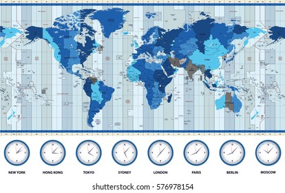 Map of the world standard time zones in blue colors