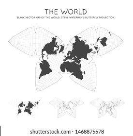 Map of The World. Steve Waterman's butterfly projection. Globe with latitude and longitude lines. World map on meridians and parallels background. Vector illustration.