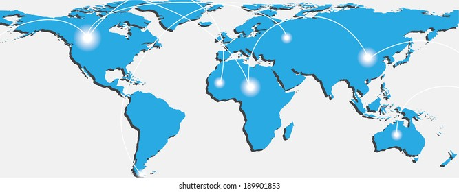 Map of world with trading paths between points A and B. Vector illustration
