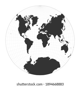 Map of The World. Van der Grinten II projection. Globe with latitude and longitude net. World map on meridians and parallels background. Vector illustration.