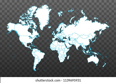Map of World. Vector illustration on transparent background. Items are placed on separate layers and editable. Vector illustration eps 10.