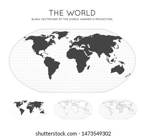 Map of The World. Wagner VI projection. Globe with latitude and longitude lines. World map on meridians and parallels background. Vector illustration.