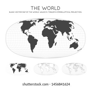 Map of The World. Waldo R. Tobler's hyperelliptical projection. Globe with latitude and longitude lines. World map on meridians and parallels background. Vector illustration.