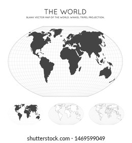 Map of The World. Winkel tripel projection. Globe with latitude and longitude lines. World map on meridians and parallels background. Vector illustration.