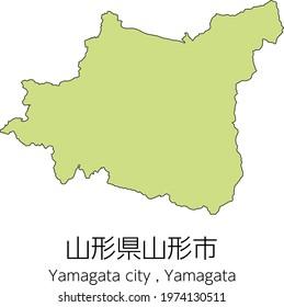 """Map of Yamagata City, Yamagata Prefecture, Japan.Translation: """"Yamagata City, Yamagata Prefecture."""""""