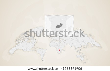 Map Zambia Neighbor Countries Pinned On Stock Vector (Royalty Free ...