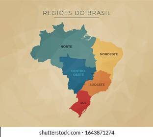 mapa político brasileiro geográfico das regiões Norte, nordeste, centro-Oeste, sudeste e sul - ilustração em vetor colorido simples e básico com textos e títulos