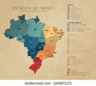 mapa brasileiro geográfico dos Estados com lista dividido por região - norte, nordeste, centro-Oeste, sudeste e sul nas cores azul, verde, amarelo, laranja e vermelho- ilustração em vetor simples