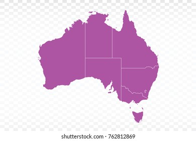 Map-Australia map. Each city and border has separately. Vector illustration eps 10.