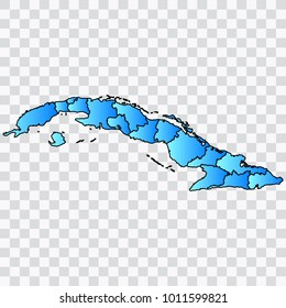 Map-Cuba map. Each city and border has separately. Bluish blue. Vector illustration Eps 10.
