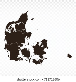 Map-Denmark map. Each city and border has separately. Vector illustration eps 10.