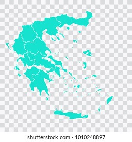 Map-Greece map. Each city and border has separately. Vector illustration eps 10.