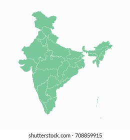 Map-India map. Each city and border has separately. Vector illustration eps 10.
