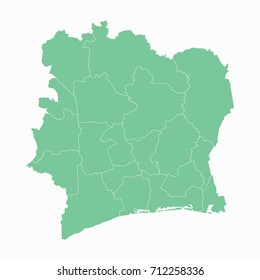 Map-Ivory Coast map. Each city and border has separately. Vector illustration eps 10.