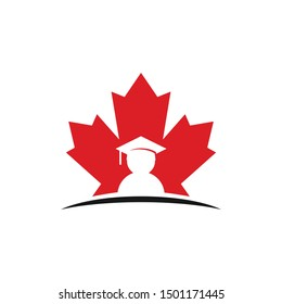 Maple Canada and Graduation Student Logo. Education Symbol. University Icon vector.