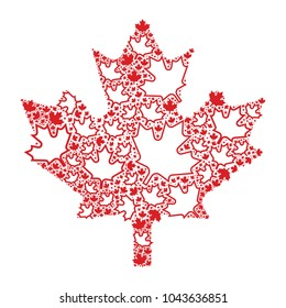 A maple leaf assembled out of smaller leaves in vector format.