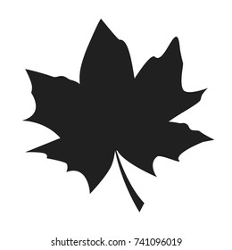 Maple leaf black silhouette autumn fallen object vector illustration in realistic design isolated on white. Fall foliage element, dark leafage vector